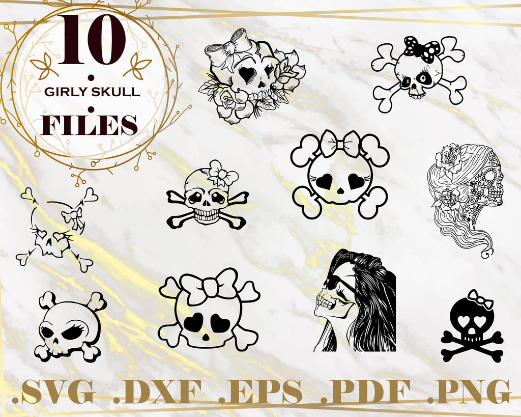 GIRLY SKULL SVG, clipart, silhouette, stencil, file cricut, cut file, cutting file, vector files - .EPS .DXF .SVG .PNG .PDF, vinyl design, files for crafters, instant download