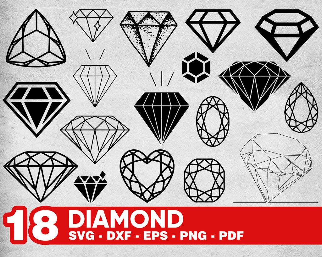 Diamond svg, Diamond SVG file , Diamond SVG Cut File, Diamond outline, Engagement Party svg, Diamond files for Cricut Decal Silhouette Svg Eps DXF Png Ai