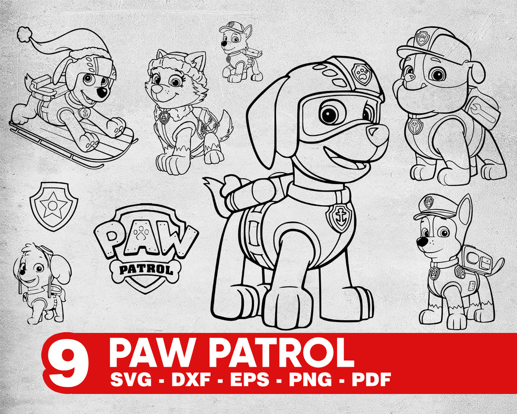 Paw patrol svg, Paw Patrol SVG Layered, Head, Badges, Cartoon Dogs, Cricut, Silhouette, Cut File, Vector, Vinyl File, Svg, Eps, Png, Pdf, Dxf