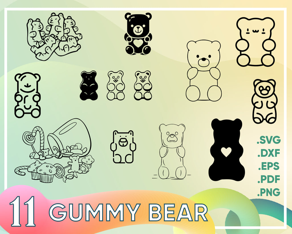 Gummy Bear svg, Gummy Bears Svg, Png, Jpg, Cut file, svg, Cricut svg, Cameo, SVG Cutting, nursery, baby, jelly, svg file for silhouette, decal, sticker, svg