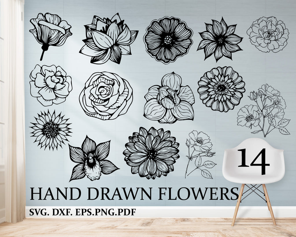 Hand drawn flowers svg, Hand drawn flower pack, Flower Silhouette Clip Art Set, Flowers Digistamp Clipart, Vector Floral Silhouette SVG EPS, Instant download