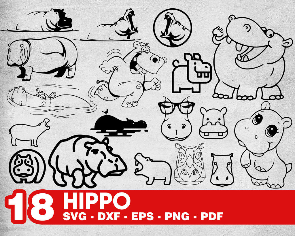 Hippo svg, Hippo SVG Bundle, Hippo SVG, Hippo Clipart, Hippo Cut Files For Silhouette, Files for Cricut, Hippo Vector, Svg, Dxf, Png, Eps, Hippo Design
