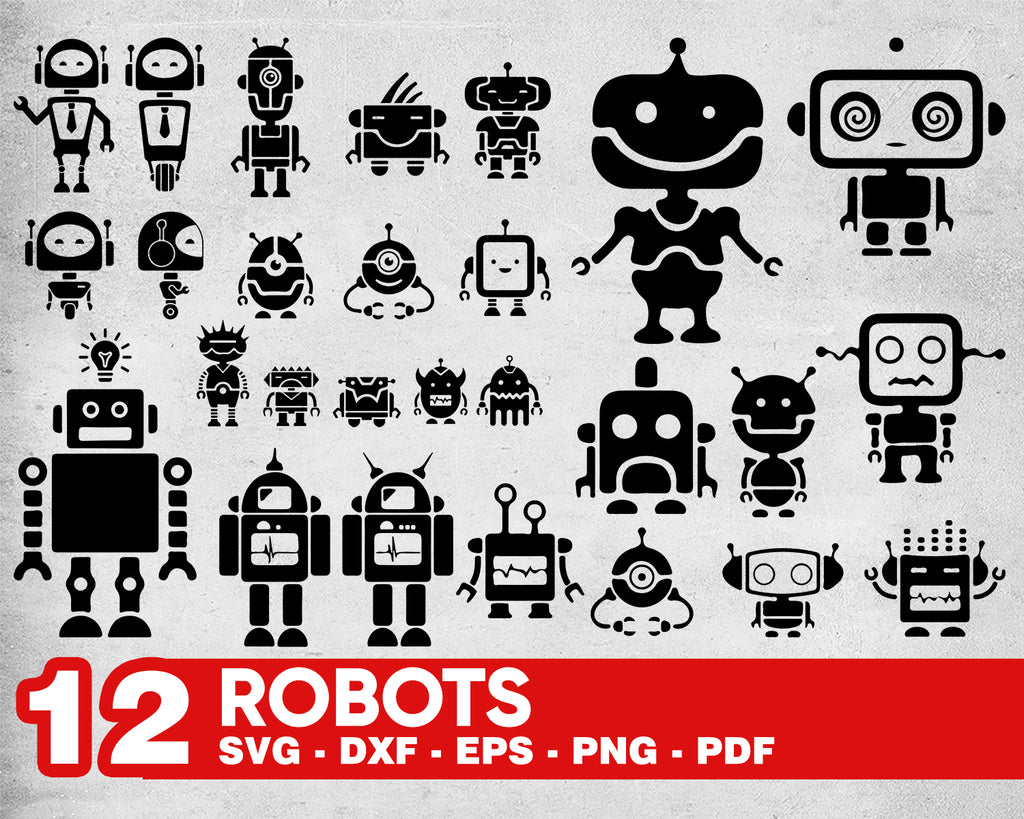 Robot SVG Bundle, Robot SVG, Robot Clipart, Robot Cut Files For Silhouette, Robot Files for Cricut, Vector, Robots Svg, Dxf, Png, Eps,