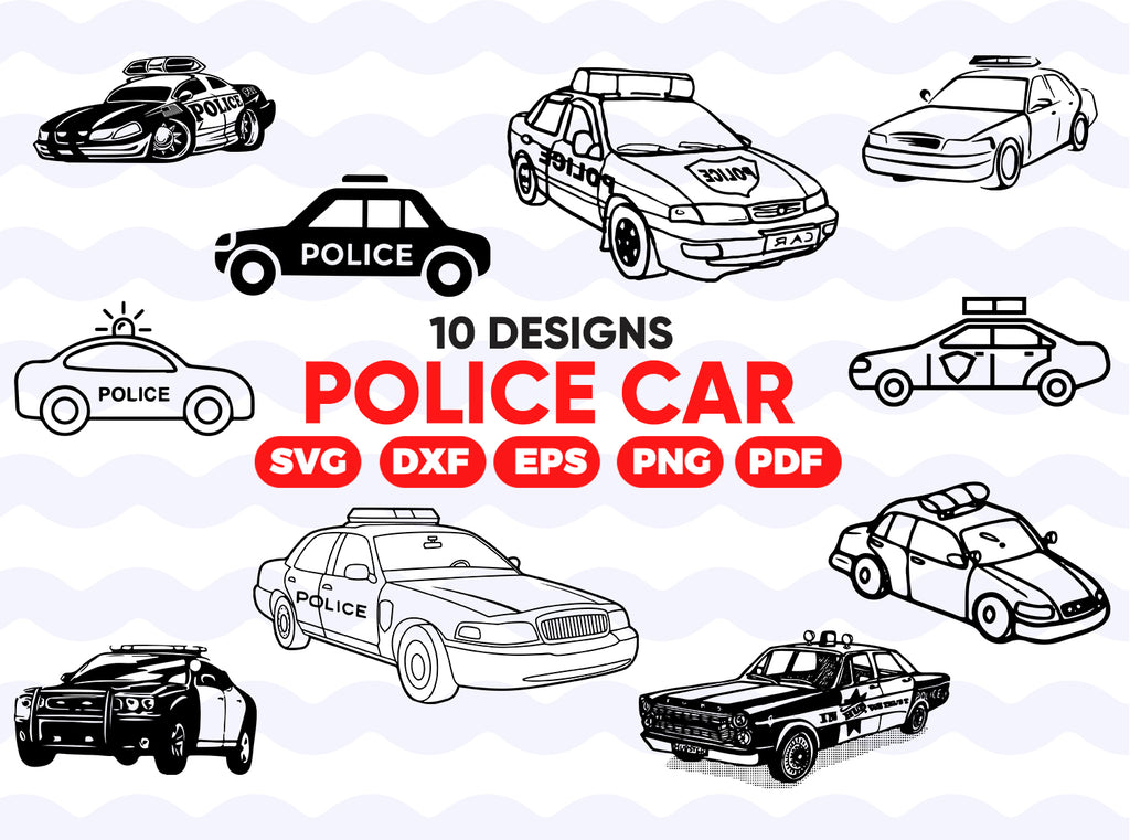 Police Car SVG, Police Car SVG, Police SVG, Police Clipart, Police Files for Cricut, Police Cut Files For Silhouette, Dxf, Png, Vector