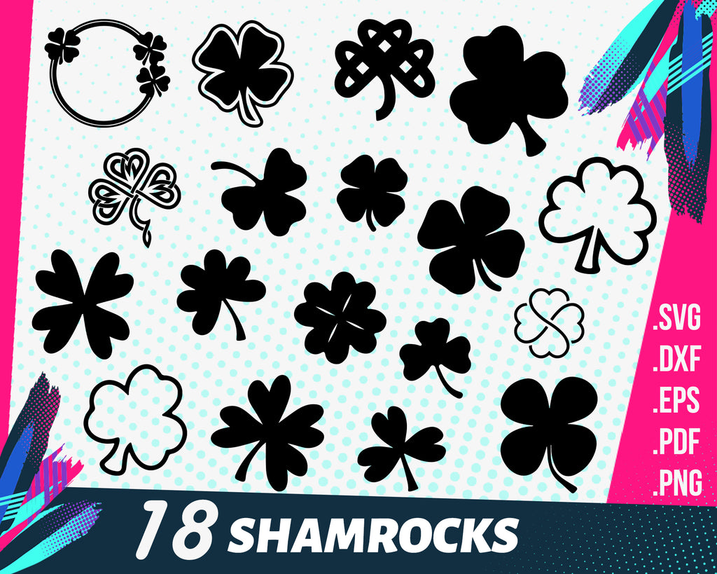 Shamrock SVG, Clover Clipart, St. Patrick's Day, Lucky. Digital download / Vector. SVG and PNG Use w Cricut, Scrapbooking files. Set