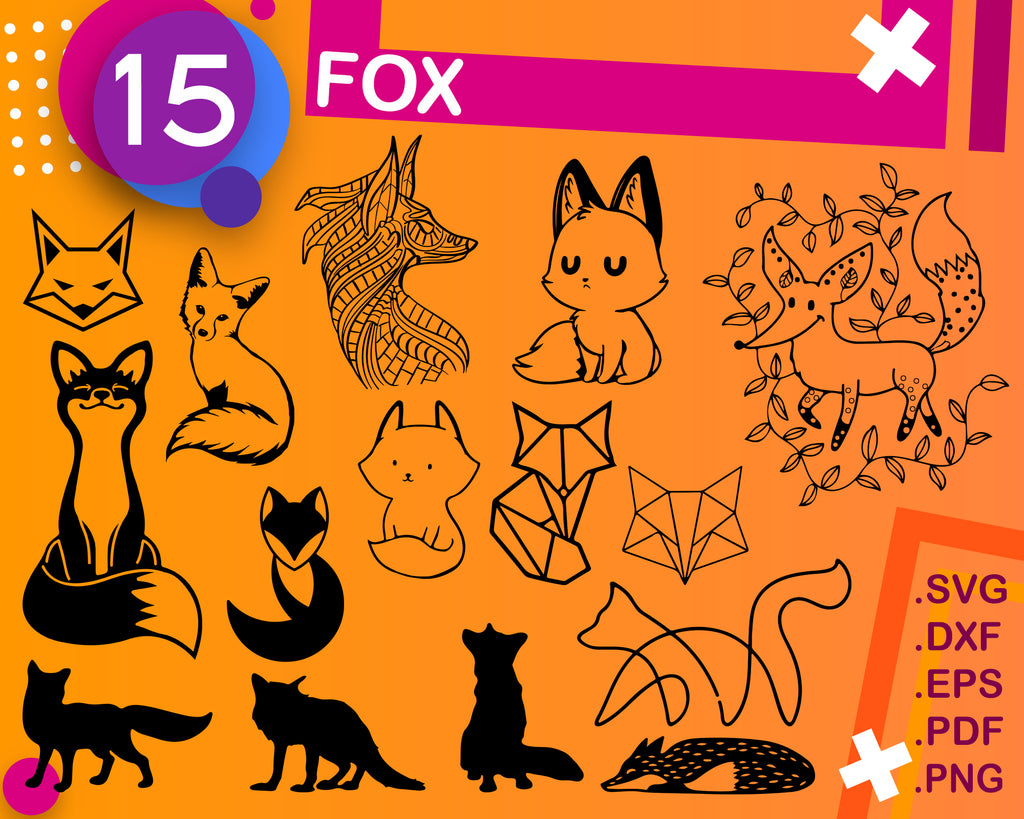 Fox svg, wildlife, cute fox svg, fox head svg, baby fox svg, animal svg, cut files, svg files, cricut, silhouette, print files, vector