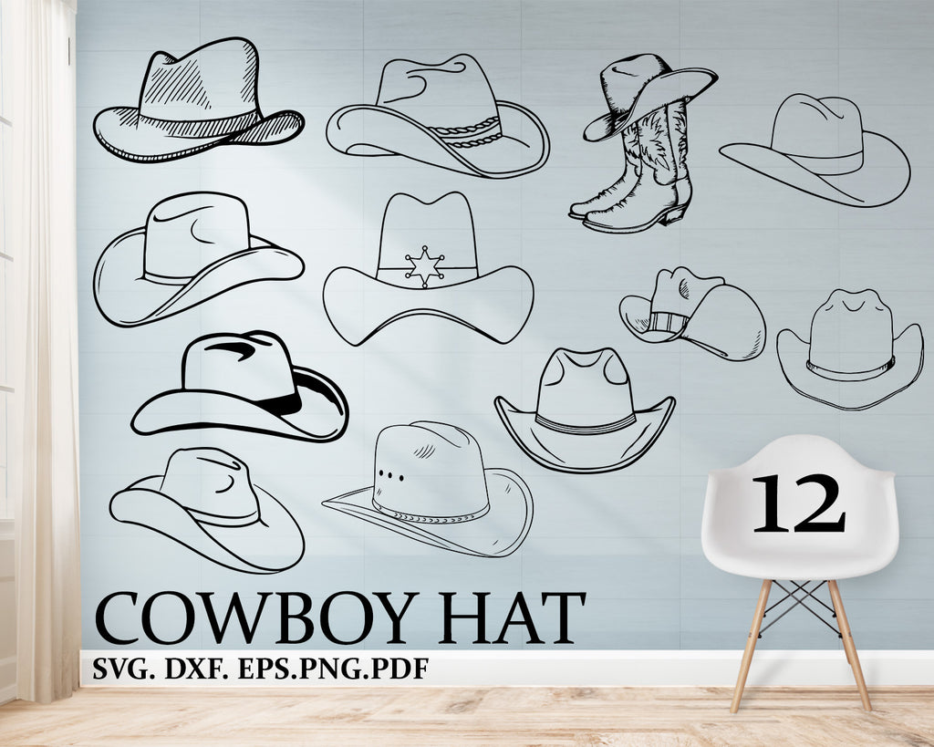 Cowboy Hat svg File, Country Western SVG File, Commercial & Personal Use, Vector Art for Cricut, Silhouette Cameo, vinyl
