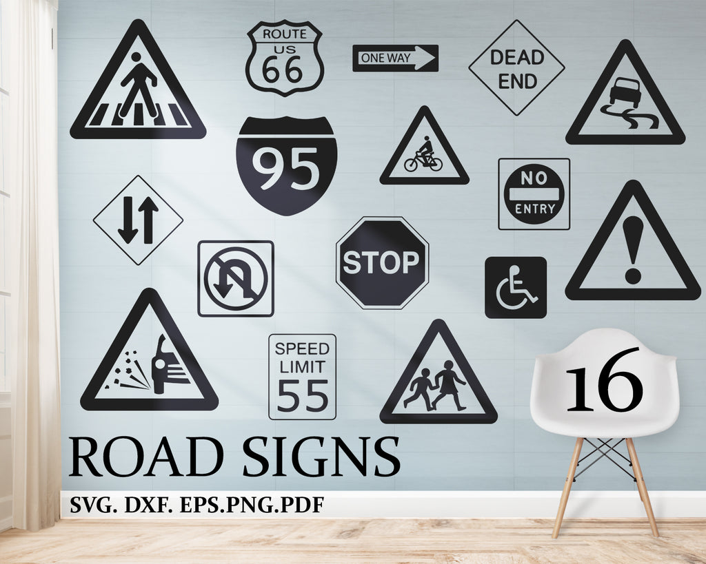Road Signs svg, gear, truck SVG, PNG, DXF for cricut, silhouette, vinyl decal, design, traffic, road sign cricut, road sign cut file