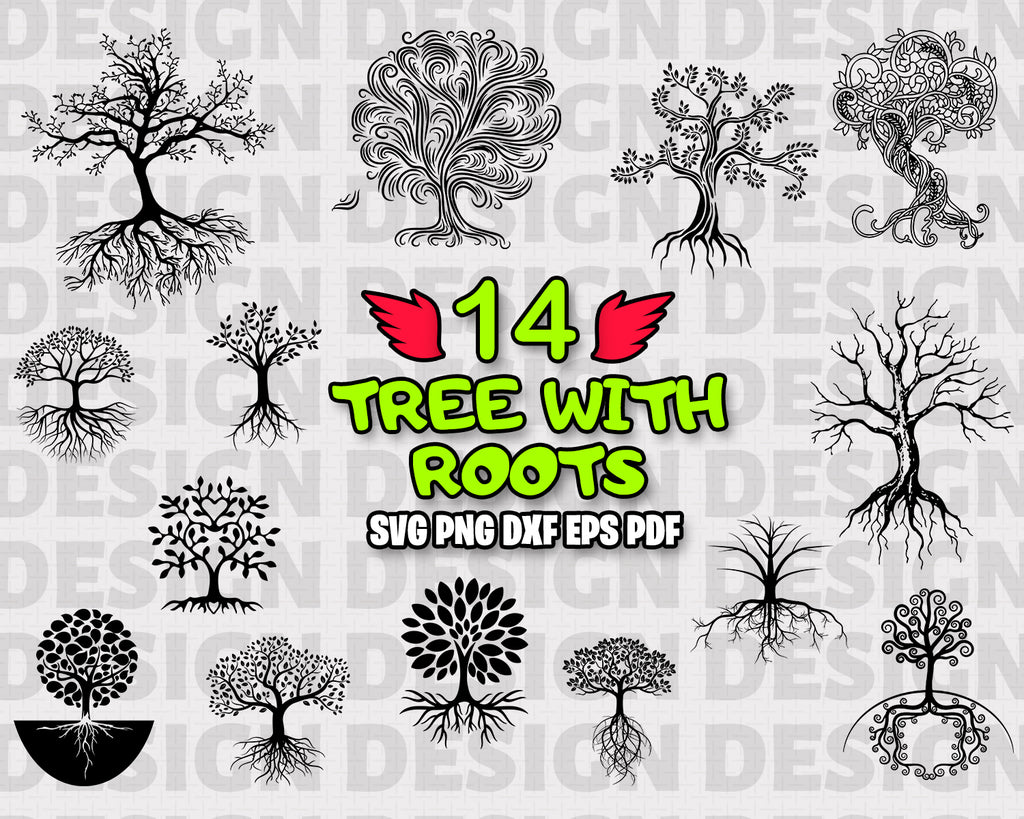 Tree With Roots SVG, Tree With Roots Bundle, Tree Roots Vector, Clipart, Cut Files For Silhouette, Files for Cricut, Vector, Tree Svg, Roots SVG, Dxf, Png, Vinyl Design, Instant Download