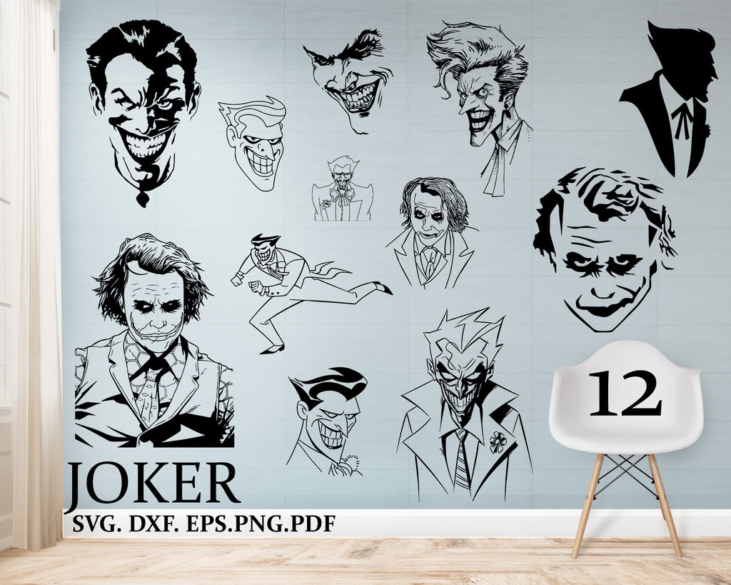 Joker svg, Joker Clipart, SVG, DXF, PNG, EPS, Silhouette, Cricut Cut File, Vector, Commercial Use, DC, Batman