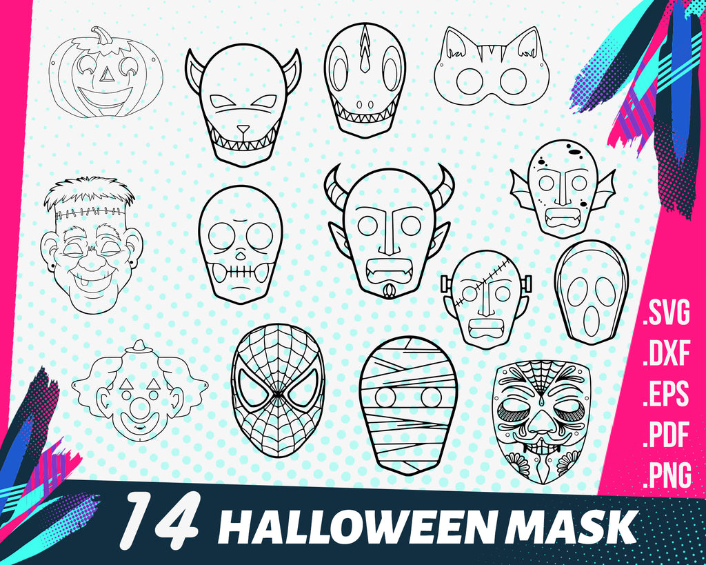Halloween mask svg, Halloween Friday The 13th Jason Mask SVG DXF Silhouette Cameo Cricut Cut File