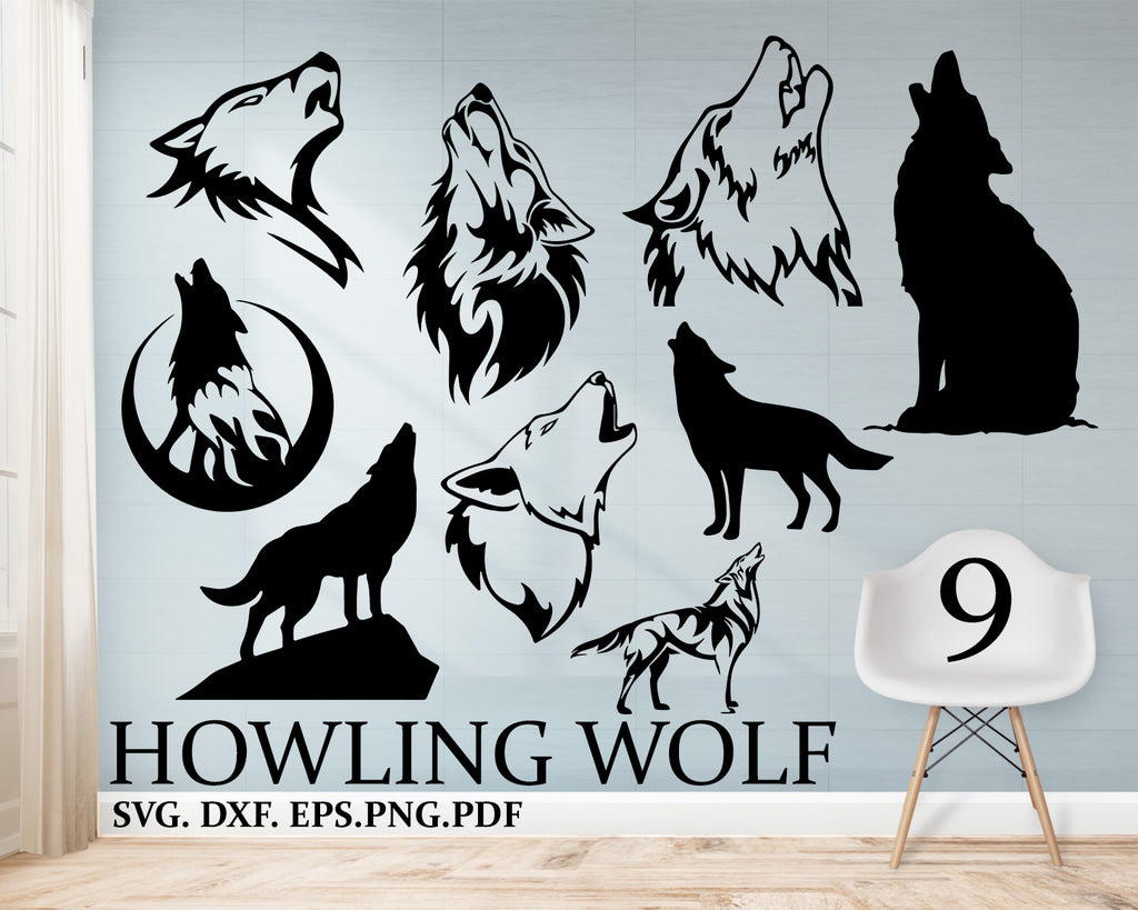 Howling Wolf svg, Wolf Svg, Wolf Face Svg, Wolves Svg, Howling Wolf Svg, Wolf Head Svg, Clipart, Decal, Eps, Dxf, Png, Silhouette, Cut file, vinyl