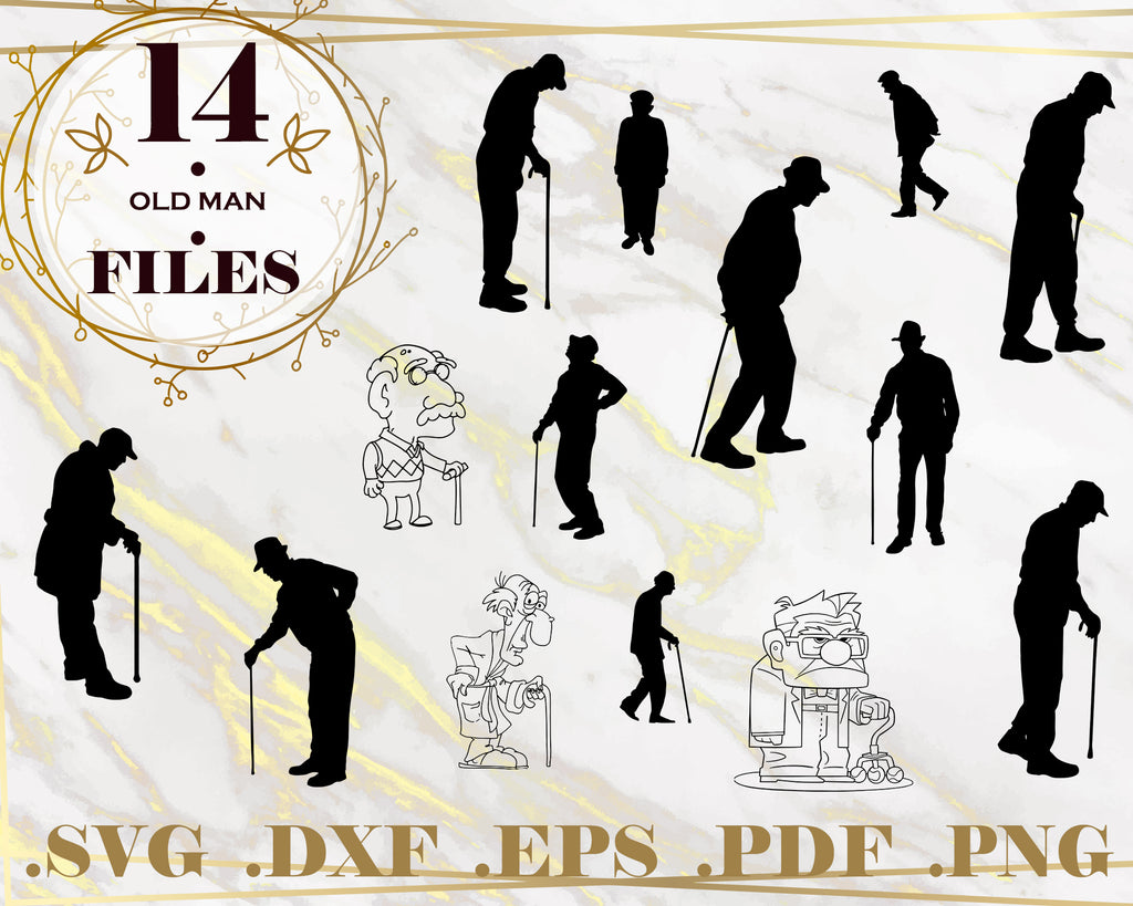 OLD MAN SVG, Old Man Cutting Image, Old Man Image Svg, Old Man Image File, Old Man Silhouette Svg, Old Man Svg Cutting File