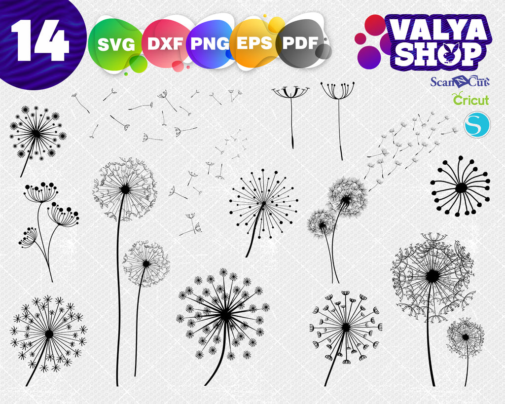 Dandelion svg, dandelion vector, flower outline, floral silhouette, love, digital, download, svg, eps, file