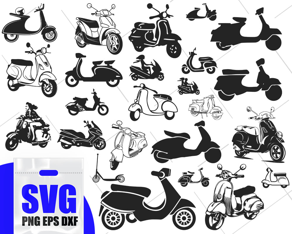 Scooter SVG Bundle, Scooter SVG, Scooter Clipart, Scooter Cut Files For Silhouette, Files for Cricut, Scooter Vector, Svg, Dxf, Png, Design