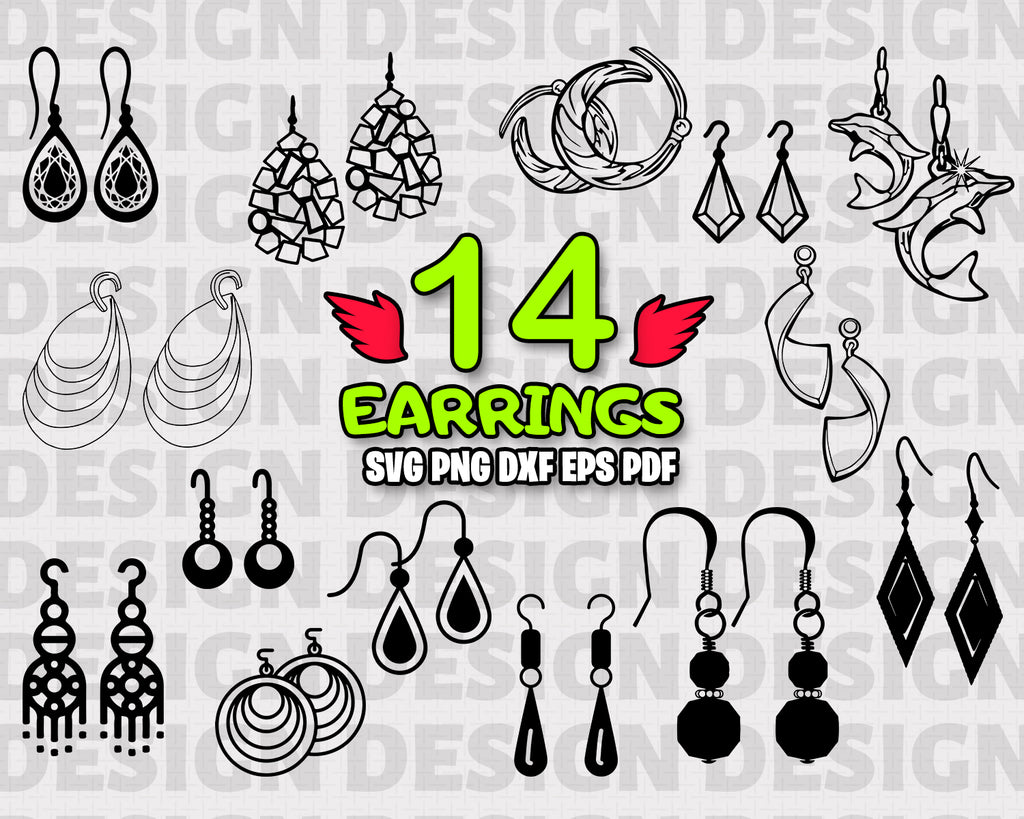 Earrings SVG, vector, clipart, decal, stencil, vinyl, cut file, image silhouette, outline, eps, dxf, png, vinyl and craft, instant download