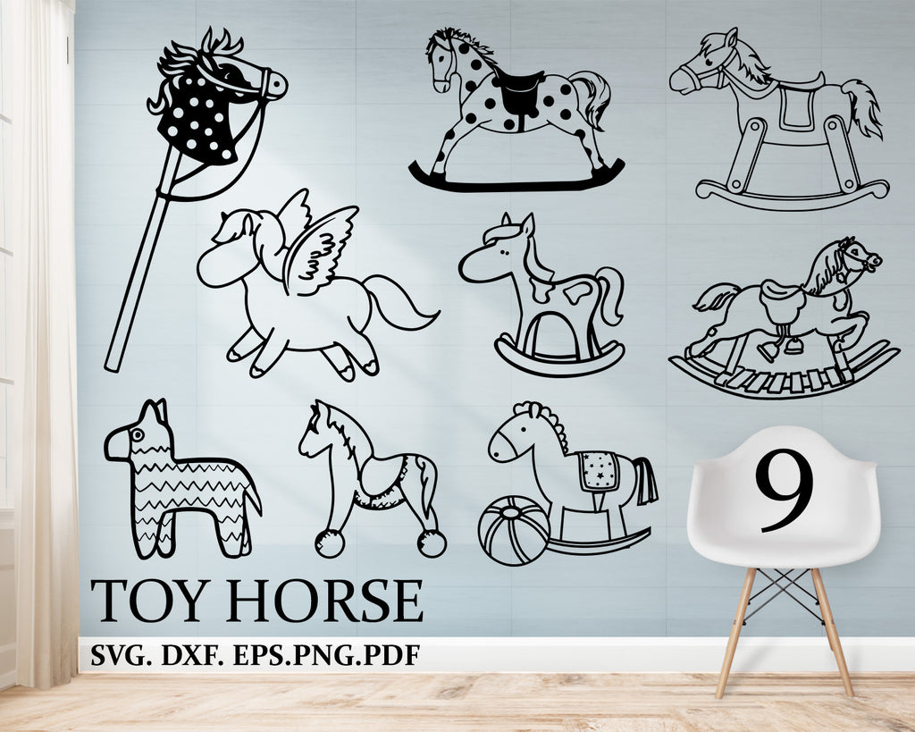 Toy Horse svg, Toy Horse Bundle, Horse SVG, Horse Clipart, Cut Files For Silhouette, Files for Cricut, Vector, Svg, Dxf, Png, Eps