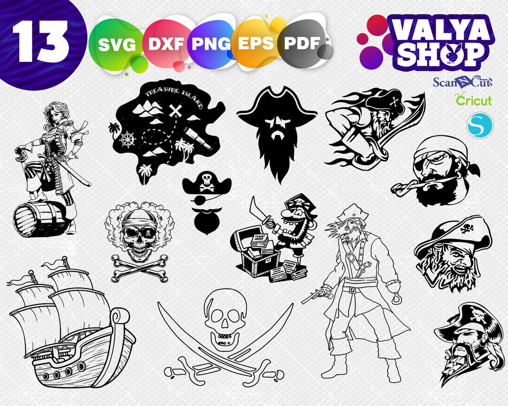 Pirate SVG Bundle, Pirate SVG, Pirate Clipart, Pirate Cut Files For Silhouette, Files for Cricut, Pirate Vector, Svg, Dxf, Png, Eps, Design