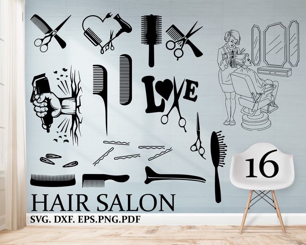 "Hair salon svg, Hair Comb Silhouette Svg: ""HAIRDRESSER TOOLS"" Barber Clipart, Comb Clipart, Hairdresser Svg, Hair Salon Svg, Comb Cut Files, Hairdresser Dxf"
