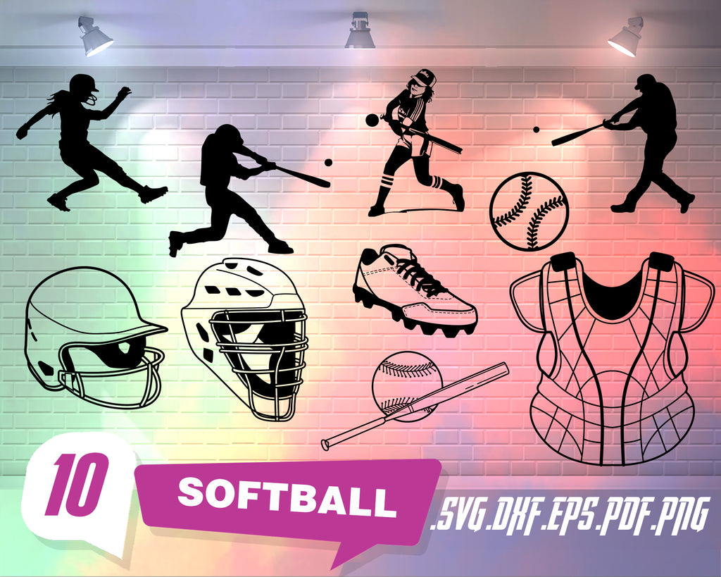 Softball svg, Softball SVG, Softball Cut Files, Softball Clipart, Clip Art, Instant Download, Softball Silhouette Design, Files for Cricut, Digital Designm,