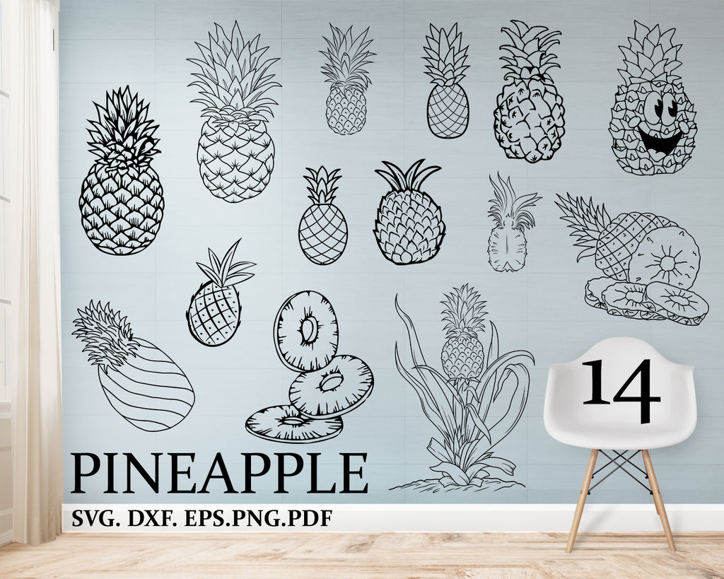 Pineapple Svg, SVG, DXF, PNG, Shirt Design, Pineapple, Fruit Svg, Summer Svg, Cut Files for Silhouette and Cricut
