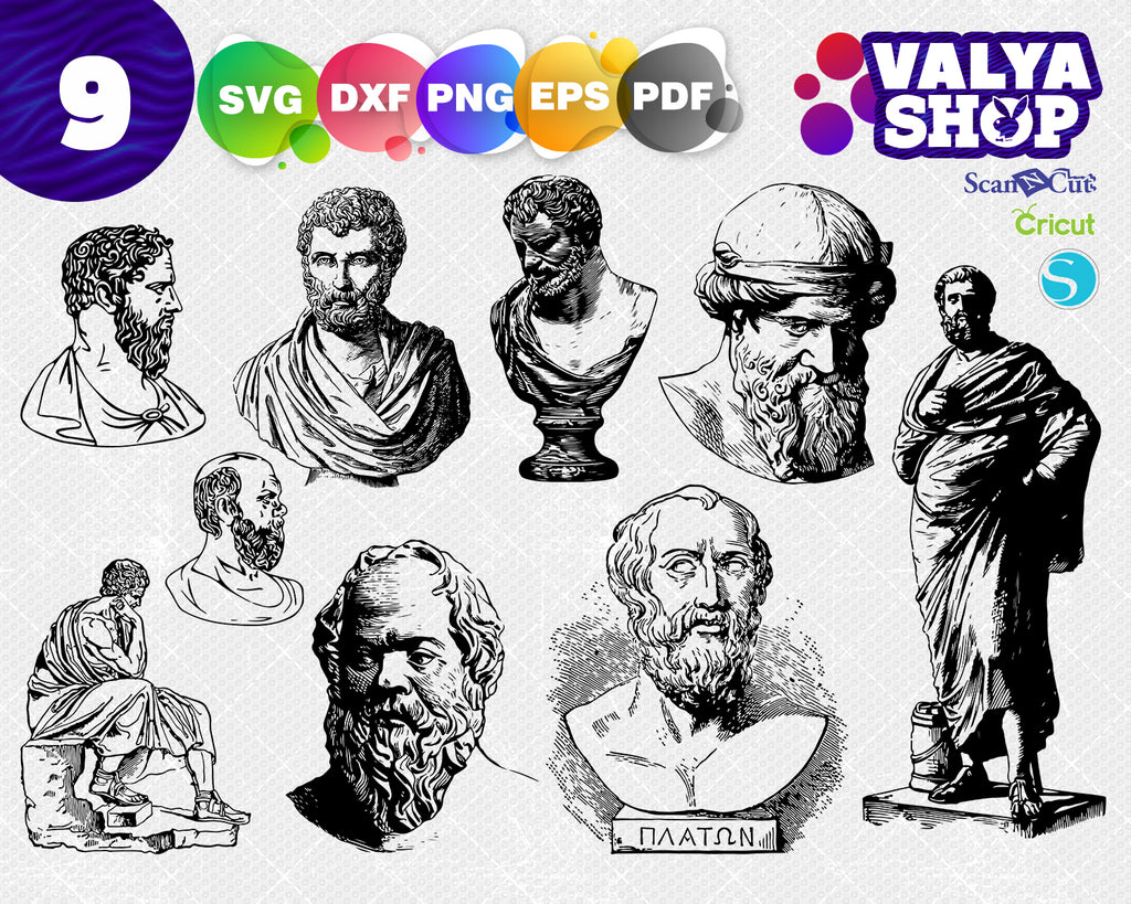 Classical sculpture svg, vector file Eps Dxf, cut file, silhouette, sculpture, drawing, SVG, PNG, illustration