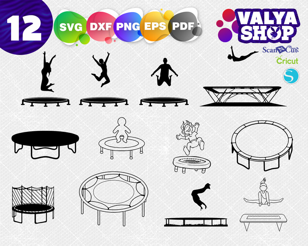 Trampoline SVG, Trampoline Clipart, Trampoline Files for Cricut, Trampoline Cut Files For Silhouette, Trampoline Dxf, Png, Eps, Vector