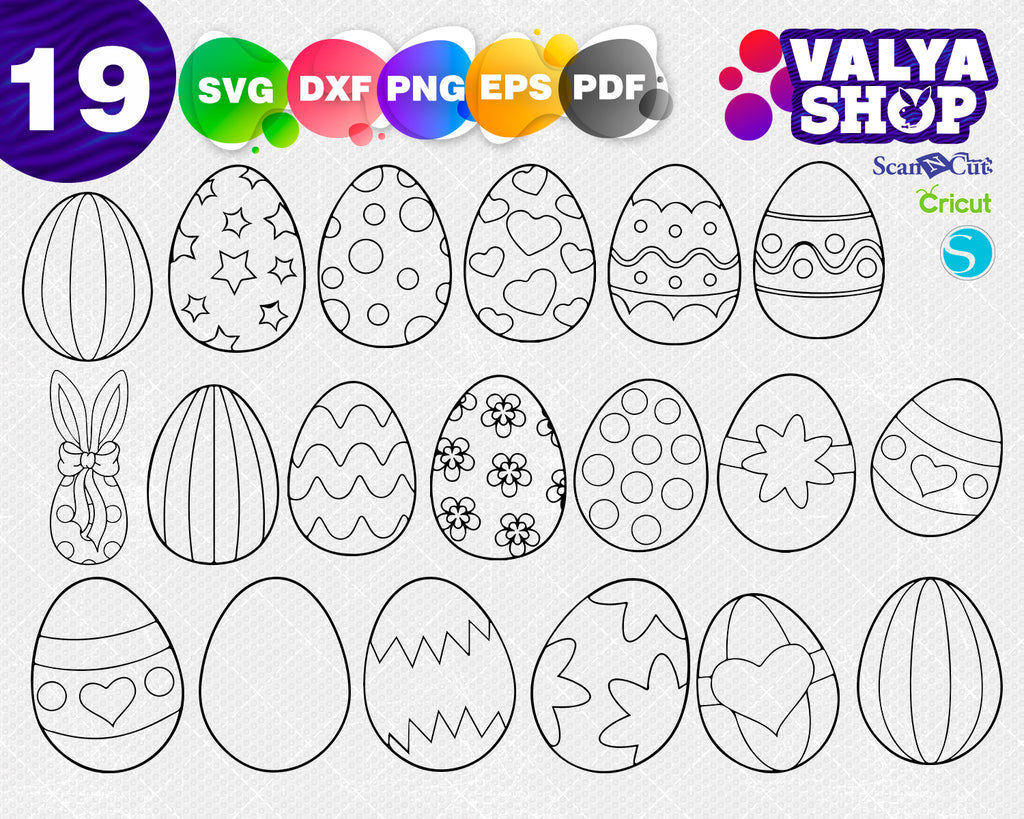 Easter Eggs svg, Easter designs svg files, Easter Pattern, Easter frame for cricut, dxf Silhouette clipart clip art DIY