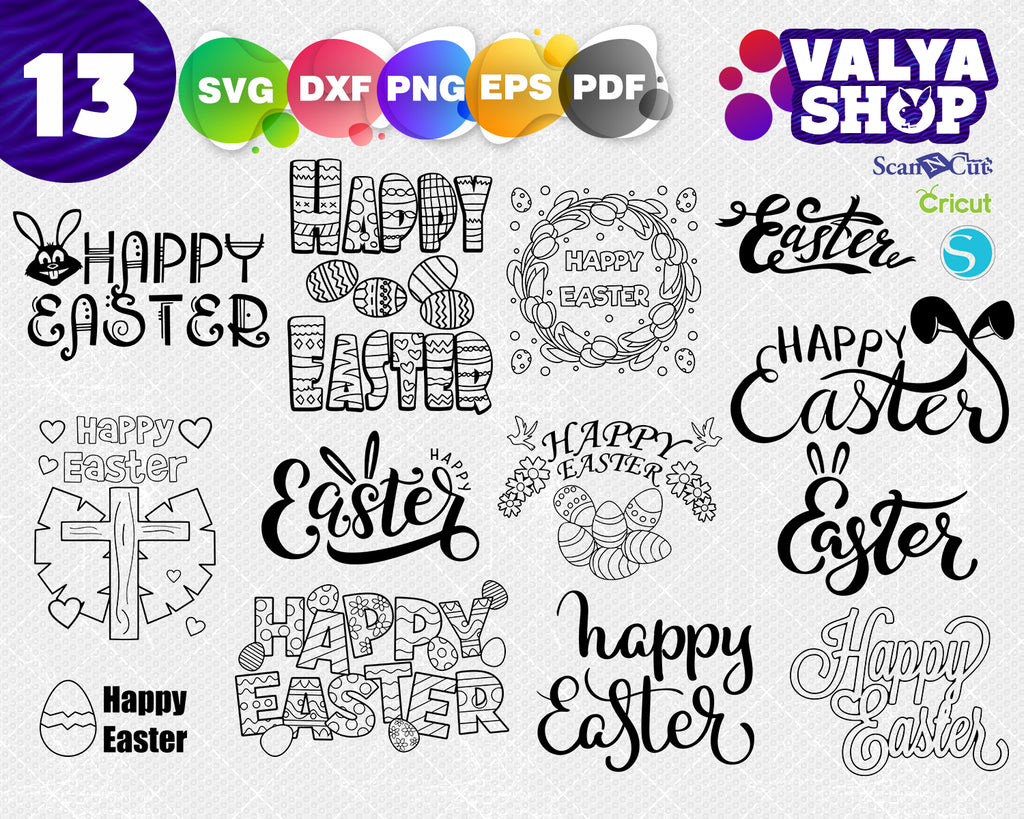 Happy Easter Words Svg Easter Cut File Words Svg Happy Easter Svg Clipartic