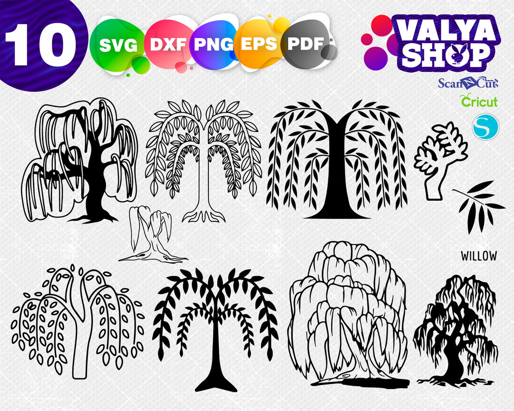 weeping willow svg, dxf, png, eps, Download files, Silhouette, Digital, graphical pictures