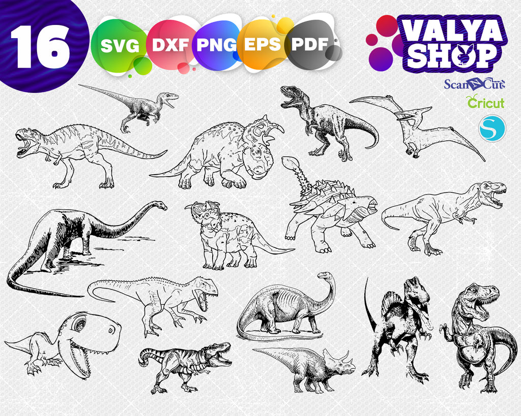 Dinosaur svg bundle, dinosaur clipart, dinosaur silhouette, t-rex svg, cutting files for cricut and silhouette, png, dxf