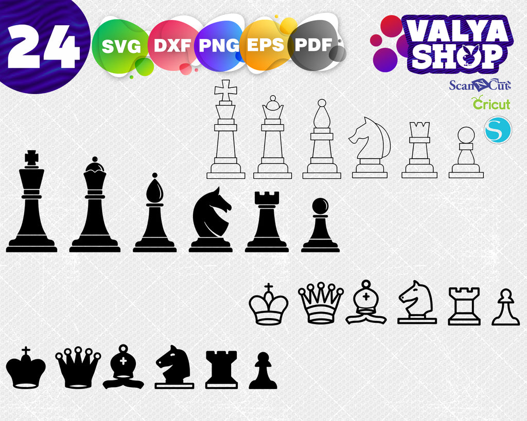 Chess SVG, Chess Pieces SVG, Chess Clipart, Chess Cut Files For Silhouette, Chess Files for Cricut, Chess Dxf, Chess Png, Eps, Chess Vector