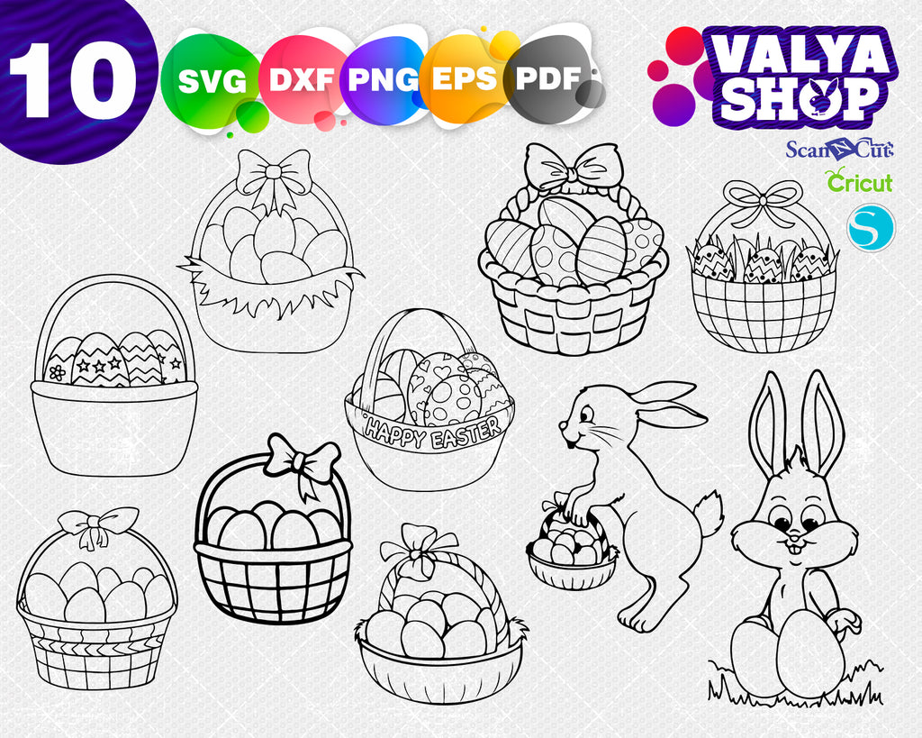 Easter Baskets Svg: Easter Eggs SVG File, DXF Silhouette Cameo, Cricut Explore Svg cut file, iron on