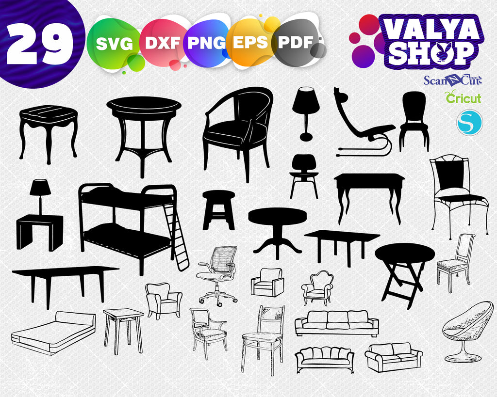 Furniture svg, Chair, Home decor, Classical furniture SVG, Furniture silhouettes, Antique furniture svg, Furniture clip art, Furniture cricut file