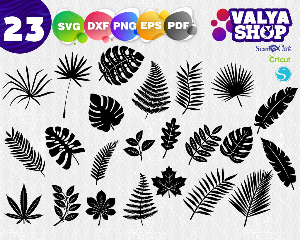 Tropical Leaves Svg, Palm Leaves Bundle, Tropical Leaves Silhouettes, Tropical leaves bundle, Tropical Leaves Cut Files, Cricut file