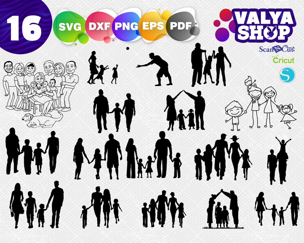 Family and baby svg, kindred svg, woman svg, man svg, father svg, dad svg, grandmother, randfather, family love svg, silhouette cut file, cricut, dxf