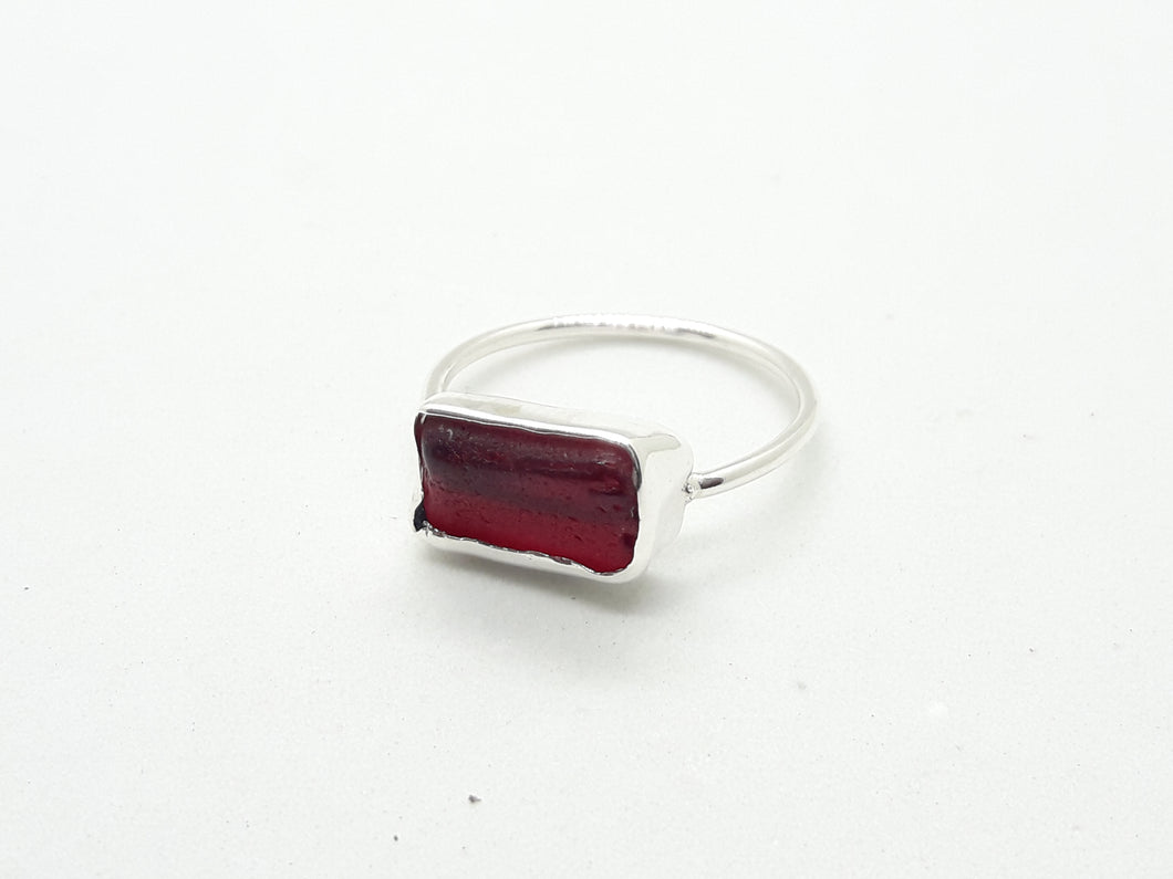 Red Bermuda seaglass ring