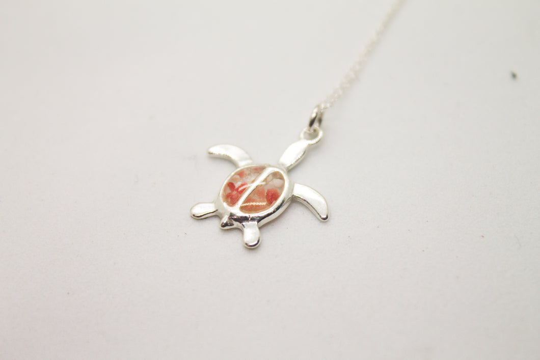 Pink sand sterling silver turtle (small)