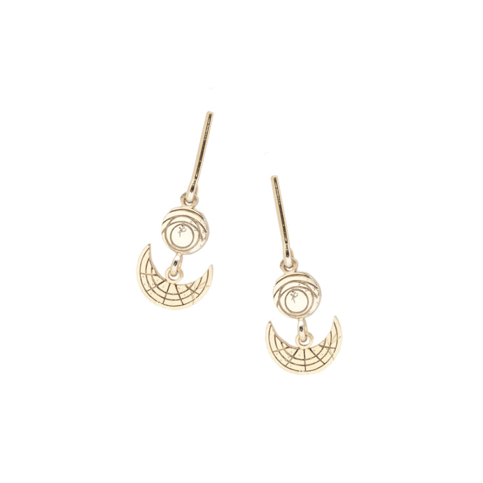 Disc, Moon and Bar Earrings
