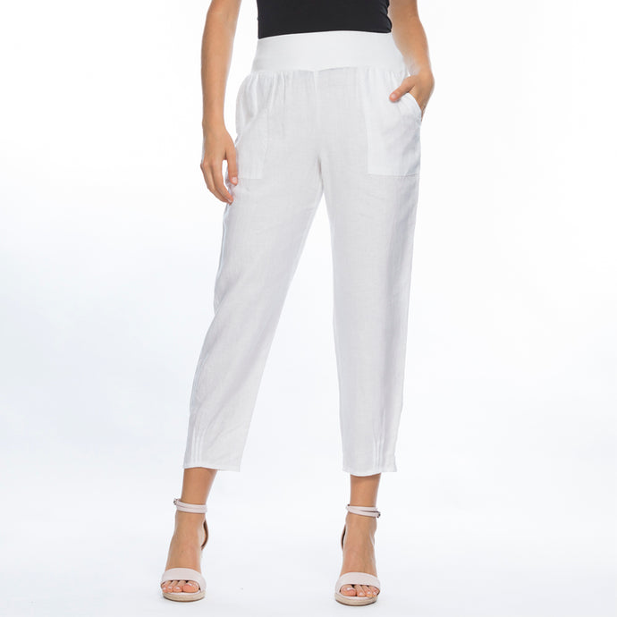 Tapered Linen Pant | White