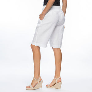 Linen Pull On Short | White