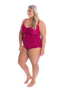 Capriosca Ruched One Piece Honey Comb Plum Side