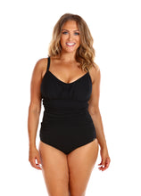 Load image into Gallery viewer, Black Honey Comb Underwire One Piece Front