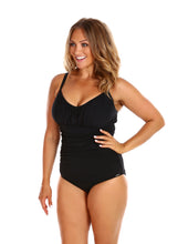 Load image into Gallery viewer, Black Honey Comb Underwire One Piece Side