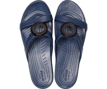 Load image into Gallery viewer, Crocs Australia Sanrah Metalblock Sandal Silver/navy One Country Mouse Yamba