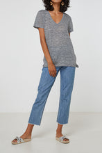 Load image into Gallery viewer, EC Linen V Neck Tee | Grey Marle