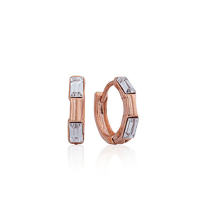 2 BUGUETTE CRYSTAL DETAIL ON HUGGY EARRINGS - ROSE GOLD