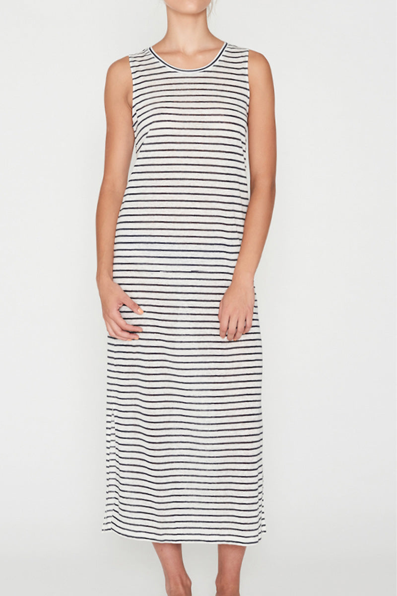 EC Linen Tank Dress - Navy Stripe