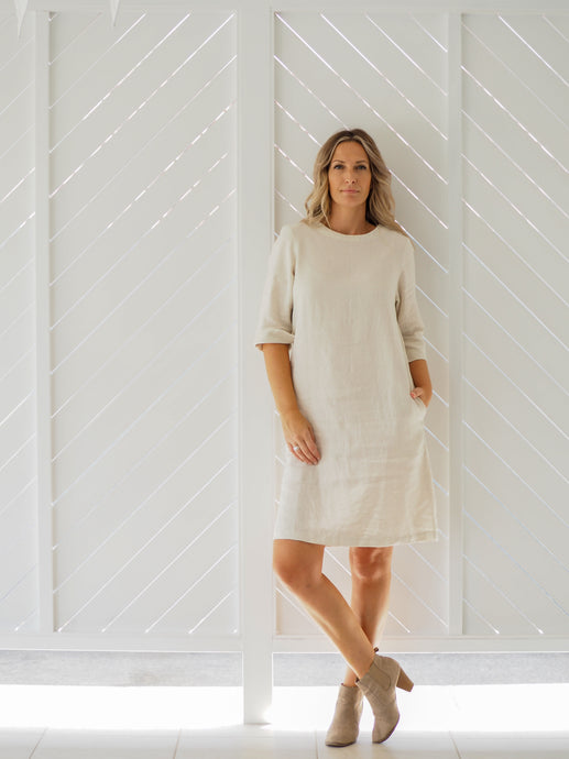 Moira Shift Dress | Chalk Linen