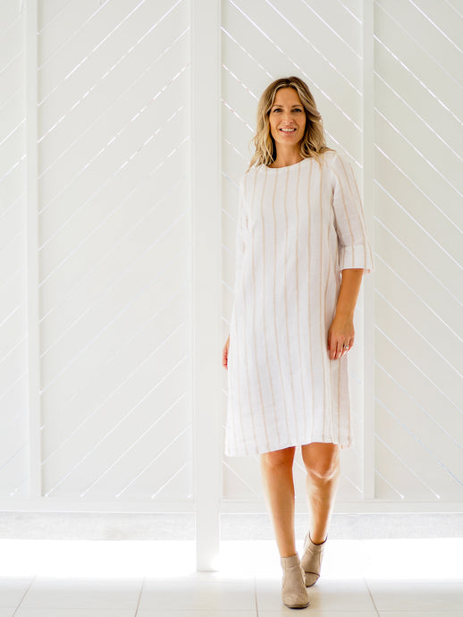 Moira Shift Dress | Cream Caramel Stripe Linen